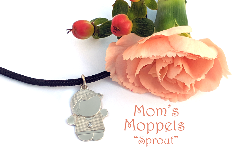 Mom's Moppets- Little boy charm for mom on a black cord bracelet.
