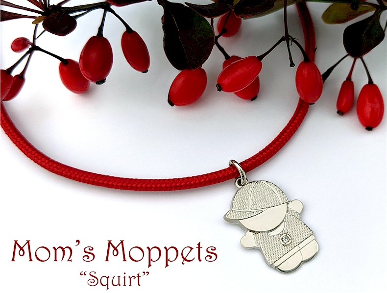 Mom's Moppets- Little boy charm for mom on a red cord bracelet.