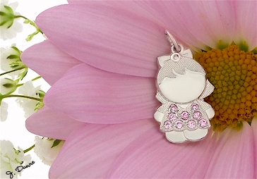 Mom's little girl pendant with simulated October birthstones.